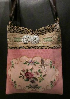 Vintage Needlepoint Roses Roses Pink Blue Green by LadidaHandbags