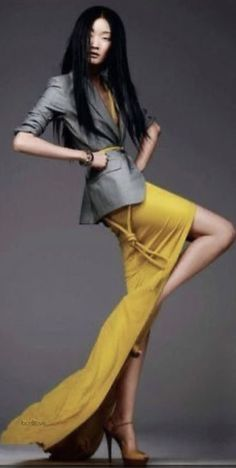Shades Of Yellow, Grey Yellow, Color Shades, Pink Brown, Gray Color, Fashion Art, Editorial Fashion, Trendy Fashion, Womens Fashion
