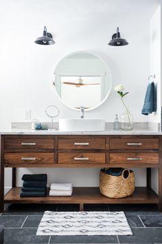 white bathroom + wood vanity