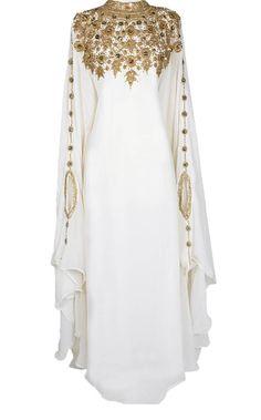 white georgette farasha with zari and stone work farasha - MS CREATION - 2665289