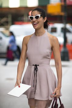 Halter dress in NY Streets already?  I think these were not taken recently.