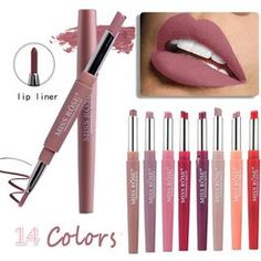DressTrendShop Double head, Easy to Wear, Full Size, Lipstick, Matte Lipstick Pencil 14 Color DoubleEnd Lip Makeup Lipstick Pencil Waterproof Long Lasting Tint Red Lip Stick Beauty Matte Liner Pen Lipstick Matte Lipstick Set, Lipstick Pencil, Rose Lipstick, Matte Makeup, Red Lipsticks, Makeup Lipstick, Liquid Lipstick, Nude Lip, Lip Colors
