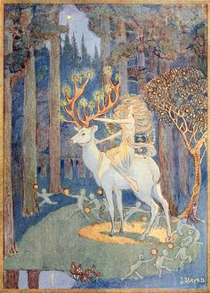 "Jessie Bayes - ""The Erl Kings Daughter sending faery servants to their several tasks"" // This looks like it could be an illustration for something by Lord Dunsany. Kunst Inspo, Art Inspo, Art And Illustration, Fairy Tale Illustrations, Arte Sketchbook, Fairytale Art, Fairytale Fantasies, Fairytale Drawings, Fantasy Kunst"