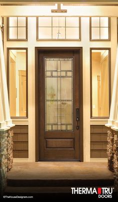 Classic-Craft Mahogany Collection fiberglass door with Homeward decorative glass Fiberglass Entry Doors, Home Estimate, Grand Entrance, Shaker Style, Exterior Doors, Glass Design, Wood Doors, Decorative Glass, Architecture Design