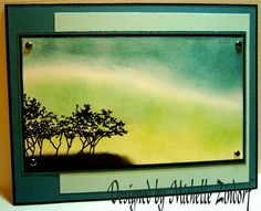 Northern Lights tutorial MZ: Stamps: Cornish Hertiage Farms-Row of Trees Paper: Stampin' Up Whisper White, Basic Black, Soft Sky, Blue Bayou Ink: Stampin' Up Soft Sky, Blue Bayou, Basic Black & Certainly Celery Accessories: Brads, Sponges