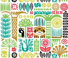 [Throw pillow] day in the jungle fabric by dennisthebadger on Spoonflower - custom fabric