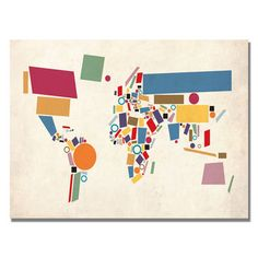I love to have this in my living room! @Overstock.com - Artist: Michael Tompsett  Title: Abstract Shapes World Map