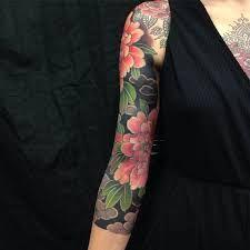 Image result for japanese floral sleeve tattoo older women