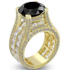 12.58 Carat Certified Natural Black Diamond Engagement Ring 14k Yellow Gold - Black Diamond Engagement Rings - Engagement
