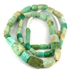 SKJ ancient bead art - old amazonite beads - Some Very Old Indus Beads & Others Unknown
