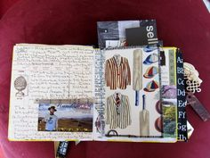 Travel Journal Kit.   Crayons and/or other colours, glue stick, paper tape, scissors (blunt-nosed for the plane), Staz-On ink pad and a date stamp.  Also could include Smash ink/glue pen, small paper bags or small plastic pouches for mementos.