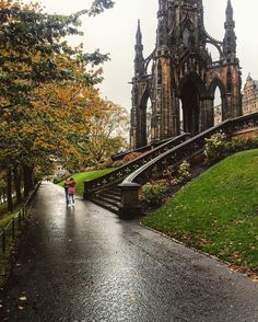 """This is Edinburgh """"Even on a wet autumn day, Princes Street Gardens is a special place to be 😍🍁🍂 📸: Oh The Places You'll Go, Places To Travel, Places To Visit, Hawaii Travel, Thailand Travel, Italy Travel, Bangkok Thailand, Scotland Travel, Nightlife Travel"""