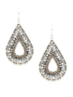 Sterling Silver & Miyuki Bead Open Teardrop Earrings by Miguel Ases on Gilt.com