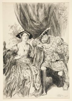 Henry VIII and Anne Bullen (sic) from Henry VIII by William Shakespeare in the March 1909 issue of Harper's Monthly Magazine. Elizabeth Howard, Lady Elizabeth, Wives Of Henry Viii, King Henry Viii, Tudor History, British History, Great Britan, Wars Of The Roses, Plantagenet