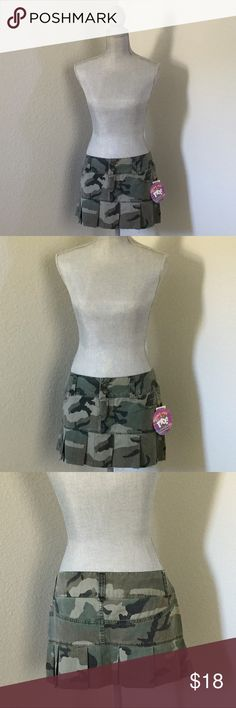 "Pleated Camo Mini Skirt Camouflage pleated Mini Skirt. New with tags. Juniors 7.  Waist is approximately 33-34"" for lower rise. Moe Clothing Co. Skirts Mini"