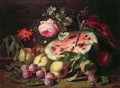 Stilleben mit einer Wassermelone von Abraham Brueghel Vegetables, Watermelon, Vegetable Recipes, Veggies