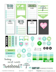 Rainy Day Planner Stickers – Free Printable