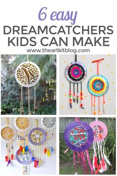 Six easy dreamcatchers kids can make #craftsforkids #kidscrafts #dreamcatchers #diy via @theartkit