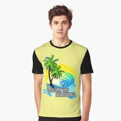 My T Shirt, Chiffon Tops, Classic T Shirts, Waves, Printed, Awesome, Summer, Mens Tops, How To Wear