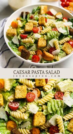 Caesar Pasta Salad with Homemade Caesar Dressing - fresh, healthy and delicious summer salad side dish or meal! Romain lettuce, cherry tomatoes, pasta, croutons, parmesan tossed in an easy and flavorful Caesar dressing. Vegetarian and low carb. #salad #caesar #pasta #summer #healthy #dinner #easydinner #recipe #joyousapron Healthy Caesar Salad, Caesar Pasta Salads, Pasta Salad Recipes, Side Salad Recipes, Cherry Tomato Pasta, Cherry Tomatoes, Cookout Side Dishes, Summer Salads, Tossed