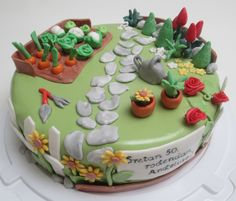 Gardening cake Garden Birthday Cake, 70th Birthday Cake, Birthday Cake With Flowers, Themed Birthday Cakes, Themed Cakes, Pretty Cakes, Beautiful Cakes, Amazing Cakes, Cupcakes