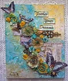 Scattered Pictures and Memories: Gather Your Dreams ~ Mixed Media Collage Canvas fo...
