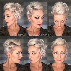 k the full video is loaded. It's a bit longer than my normal but I wanted to show you guys the full on really short hair. Pixie Updo, Short Hair Updo, Short Hair Cuts, Curly Hair Styles, Hair Dos, My Hair, Wedding Hair And Makeup, Hair Makeup, Really Short Hair