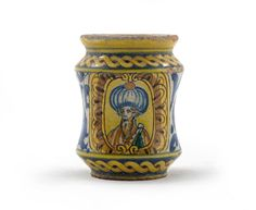 A small Sicilian maiolica albarello half century, the waisted body painted with the head and shoulders of a bearded Turk in a large turban, reserved on a ground of blue scrolling foliage between rope twist bands, some wear and slight chipping to the rim, Head & Shoulders, Glazes For Pottery, Toscana, Renaissance Art, Sicilian, Fine Porcelain, 16th Century, Earthenware, Body Painting