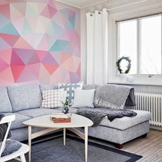 Abstraction Wall Murals - Personalize your interior Inspiration Wand, Color Inspiration, Pastel Walls, Pastel Interior, Colourful Living Room, Geometric Decor, Interior Design Inspiration, Design Ideas, Wall Design