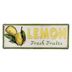 East Urban Home Clayre und Eef Blechschild Lemon Fresh Fruits Teal Kitchen, Budget, Metal Signs, Fresh Fruit, Oriental, Lemon, Bulb, Colour Yellow, Shapes