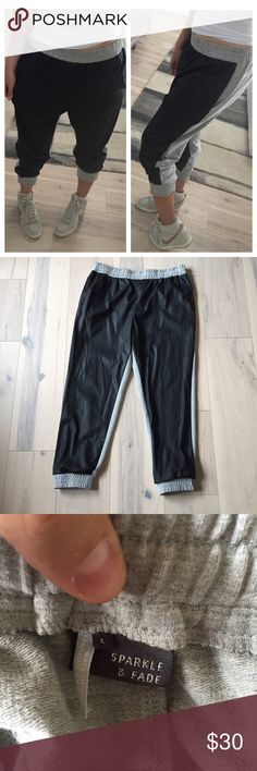 ❌SOLD❌Sparkle & Fade UO faux-leather joggers *Please don't waste my time with lowball offers.   Sporty chic joggers from Urban Outfitters brand, Sparkle & Fade. Elasticized waistband and bands at hem. Polyurethane faux-leather front panels with gray cotton knit contrast at the back. Comfortable and easy to wear. Size L, can also fit a M. Urban Outfitters Pants Track Pants & Joggers