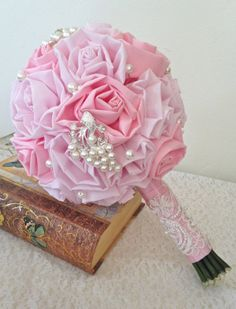 Handmade Fabric Rose Bouquet with Pearl and by ChellysChicBoutique, $160.00