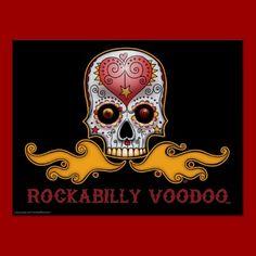 Rockabilly Voodoo Day of the Dead inspired Sugar Skull design poster