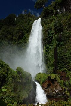 Salto el Leon waterfall near Pucon, Araucania, Chile