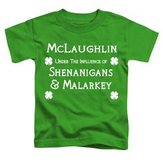Shenanigans & Malarkey Personalized 100% Cotton Kelly Green Youth Tee