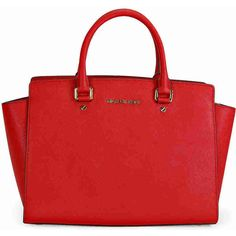 Michael Kors Selma Saffiano Leather Satchel Handbag in Red ($286) ❤ liked on Polyvore featuring bags, handbags, red purse, red bag, red satchel, red satchel handbag and saffiano leather purse