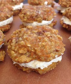 These Carrot Cake Sandwich Cookies are dairy-free, gluten-free, and simply to-die-for. You will love the smooth creamy filling that's sandwiched between two rich, dense, carrot cake cookies. Gluten Free Carrot Cake, Gluten Free Sweets, Gluten Free Cakes, Gluten Free Baking, Dairy Free Recipes, Cookie Recipes, Snack Recipes, Dessert Recipes, Dessert Bars