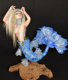 """This is my """"Finders Keepers, Ne Bling"""" Mermaid. She won an industries choice award from Dolls Magazine this year. Dolls For Sale, Doll Maker, Art Dolls, Sculpting, Mermaid, Finders Keepers, Bling, Magazine, Fashion"""
