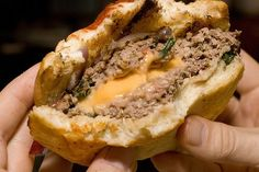 The famous Juicy Lucy! I can't wait to make these. Who wouldn't want the cheese in the burger?!