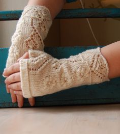 Fingerless gloves with lace pattern, hand knitted wool arm warmers / wrist warmers, white $29.93 for winter or camping wedding