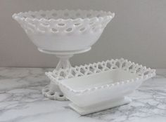 Westmoreland Milk Glass Compote and Dish, Doric Pattern