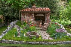 The Old Forge artisan garden at the RHS Chelsea Flower Show 2015 / RHS Gardening Landscape Design, Garden Design, Flowers Uk, Simple Shed, Potager Garden, Garden Show, Chelsea Flower Show, Garden Chairs, Garden Spaces