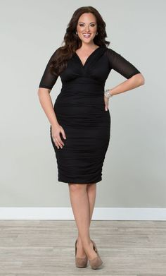 Betsey Ruched Dress, Black (Womens Plus Size)   From The Plus Size Fashion Community At www.VintageAndCurvy.com