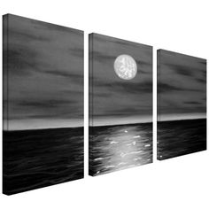 81% Off was $799.99, now is $152.97! Art Wall 3-Piece Moon Rising Gallery Wrapped Canvas Art by Jim Morana, 54 by 36-Inch + Free Shipping