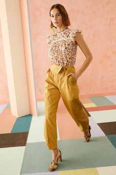 Tailored Suits, Tailored Trousers, Trousers Women Outfit, Ulla Johnson, White Outfits, Floral Blouse, Clothes For Women, Cotton, Pants