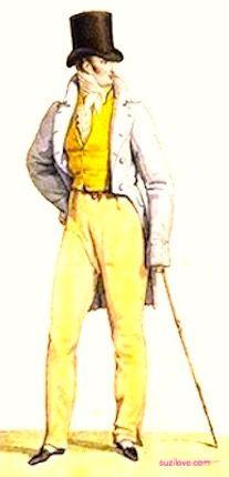 1813    Gentleman's Outfit, French. Tailcoat, nankeen pantaloons, yellow Pique vest, top hat, and walking cane.  Fashion Plate via Costume Parisienne.    suzilove.com