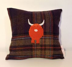 I love the Highland cow on this cushion!!! - Highland cow appliqué tweed cushion by TeacupTweed on Etsy, £30.00