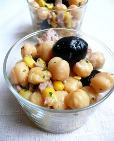 Lazy Recipe - Chickpea Salad With Tuna, Olives and Corn