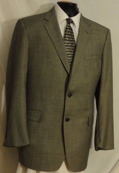 JOS. A. BANK SIGNATURE GOLD Gray Tweed Wool 2 button SUIT. Size 43L. Fully Lined #JosABank #TwoButton