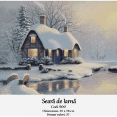 Seara de iarna Country Scenes, Cross Stitch Kits, Christmas Fun, Cabin, House Styles, Winter, Outdoor, Outdoors, Cabins